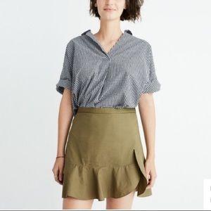 NWT Madewell Ruffle Wrap Mini Skirt Olive